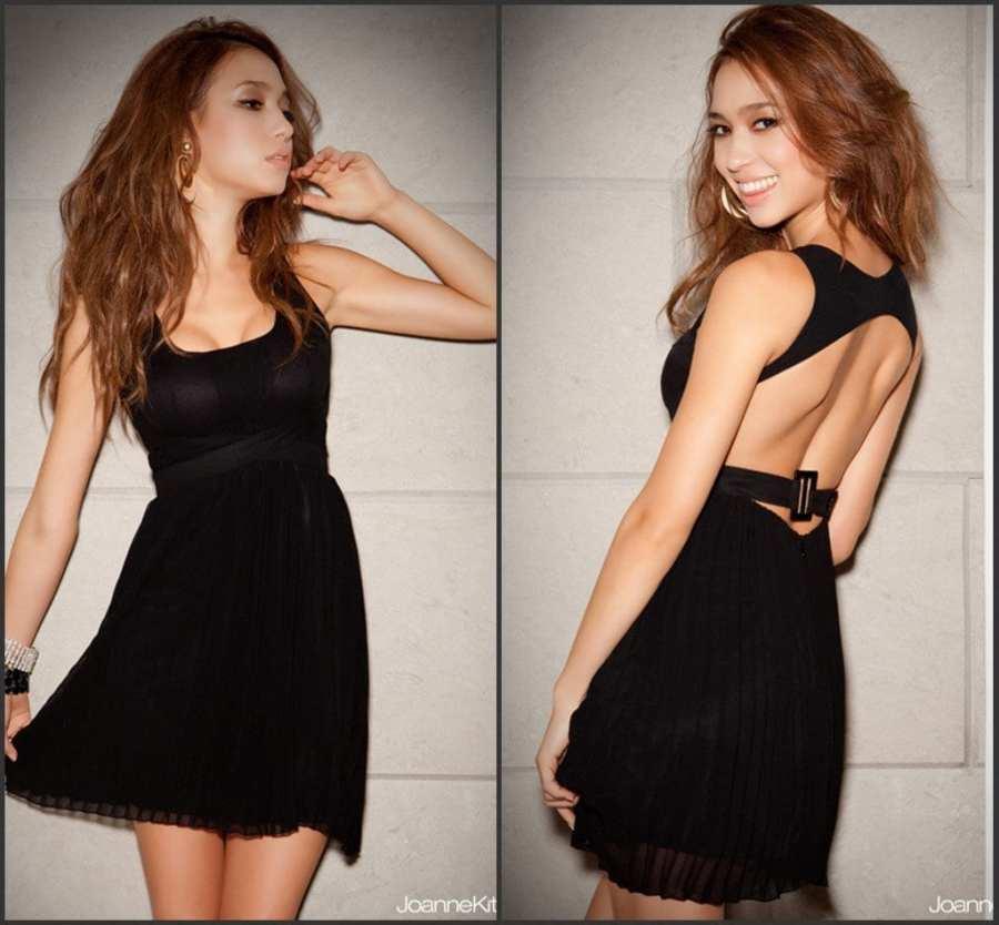vestido de noche negro para mujer