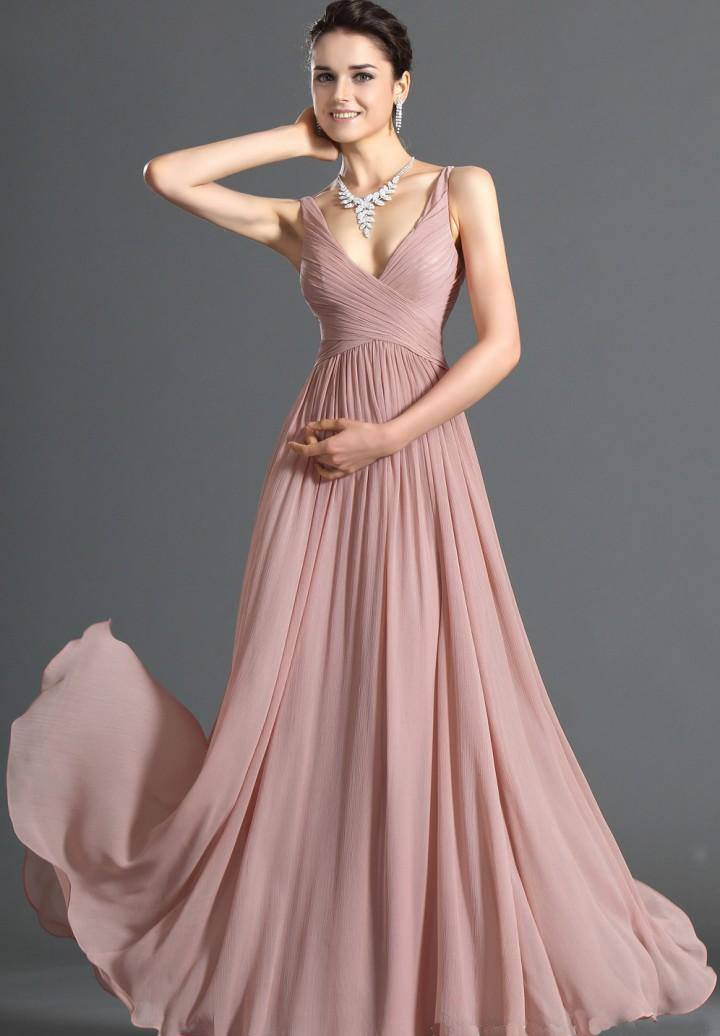 elegir vestido de gasa con cuello en v hasta el suelo